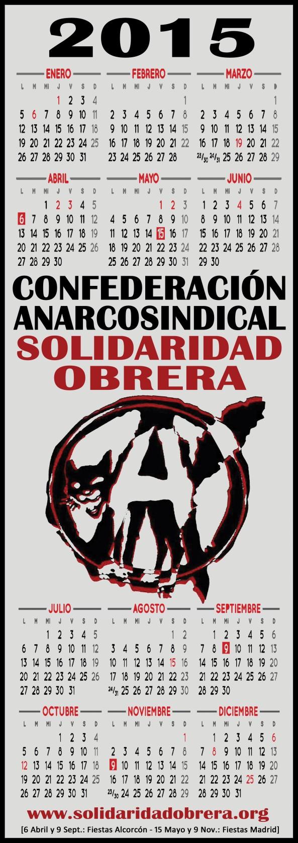 Calendario Gato II 2015 Solidaridad Obrera [15x42cm]